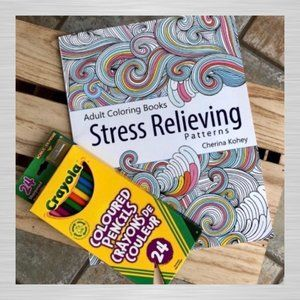 NWOT Stress Relieving Adult Coloring w/P. Crayons